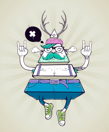 hipster mustache: Triangle hipster bizarre character. Hand-drawn poster with graffiti hipster dude. Vector illustration.