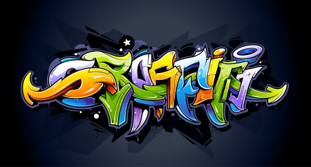Bright graffiti lettering on dark background  Wild style graffiti letters  Vector illustration  Иллюстрация