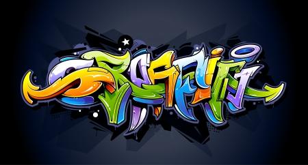 Bright graffiti lettering on dark background  Wild style graffiti letters  Vector illustration  Vectores