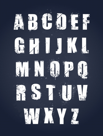 Grunge alphabet  Dirty painted english letters set  Vector illustration
