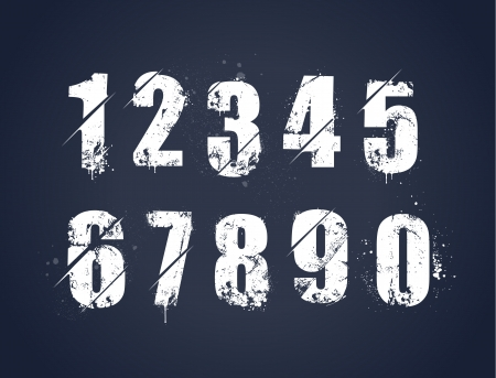 Grunge dirty painted numbers set  Vector illustration