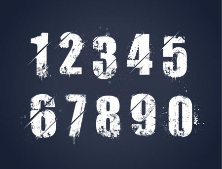 Grunge vuile geschilderde nummers set Vector illustratie