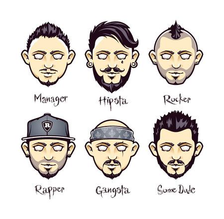 Set van moderne mannen kapsels. Set van koele vector kerel personages met verschillende kapsels. Moderne mannen stijlen. Vector illustratie. Stock Illustratie