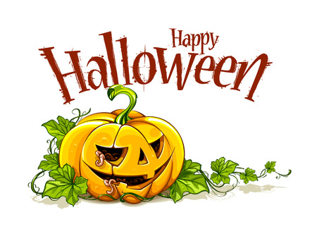 helloween: Helloween pumpkin with Happy Helloween lettering on white background. Vector illustration.