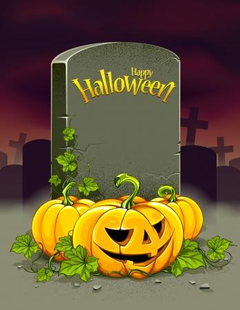 Helloween poster. Helloween pumpkins and tombstone with title Happy Helloween. Dark background. Vector illustration.