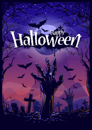 zombie hand: Halloween background with zombie hand and cemetery view. Vector illustration. Illustration