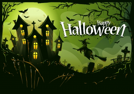 flying witch: Halloween background with witch flying to castle. Cemetery landscape, scary trees, bats and road house. Halloween poster. Vector illustration.
