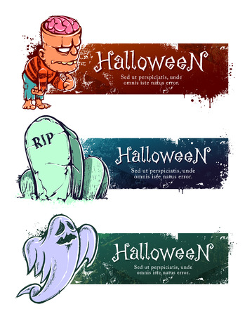 cartoon zombie: Set of hand-drawn halloween banners with funny characters. Vector illustration. Illustration