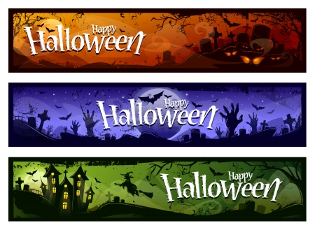 Cartoon halloween banners set. Grunge styled horizontal halloween banners with 'Happy Halloween' typography. Vector illustration.