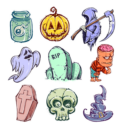 Set of funny halloween characters. Hand-drawn vector illustration. Vector