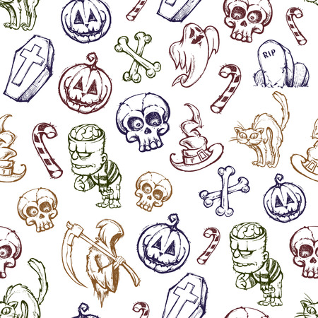 Helloween seamless texture. Set of funny hand-drawn characters. Vector illustration. Vector