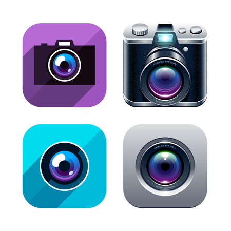 Set of different styled photo app icons. Vector illustration.