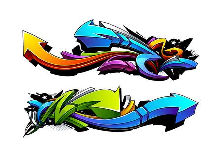 grafitis: Flechas Pintada dise�os. Ilustraci�n del vector.