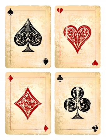 ace hearts: Grunge poker cards vector set. Vector illustration.  Illustration