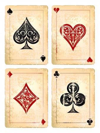 ace of diamonds: Grunge poker cards vector set. Vector illustration.  Illustration