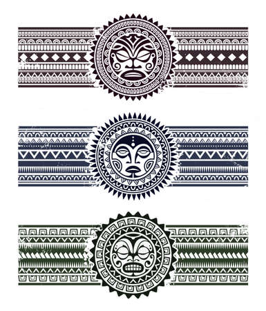 Polynesian tattoo styled masks with pattern bracelets. Vector illustration.