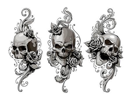 skull tattoo: Schedels met florale patronen vector set. Vector illustratie.