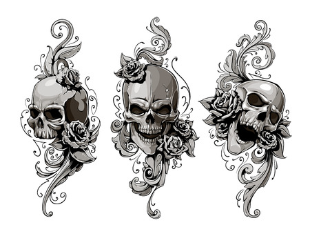 rose tattoo: Skulls with floral patterns vector set. Vector illustration. Illustration