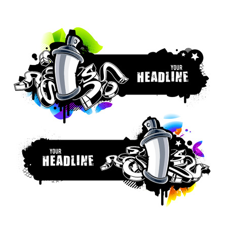 Graffiti banners with abstract arrows and paint cans. Vector illustration.