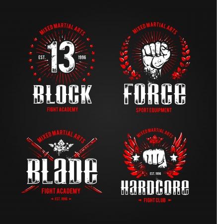 Grunge vechten prints. Vechtsporten badges. Vector illustratie.