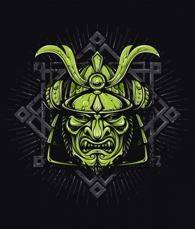 Vector samurai mask. Japanese traditional martial mask. Vector EPS 10 illustration.  Vector