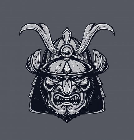 Samurai mask. Monochrome version. Japanese traditional martial mask. Vector EPS 10 illustration.  Vector
