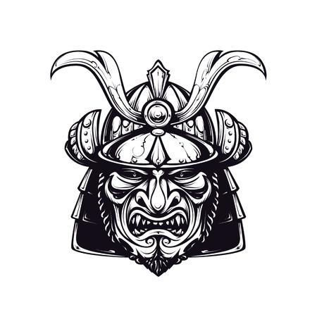 サムライ マスク クリップアート。黒と白のバージョンは、白で隔離されます。日本の伝統的な武術のマスクです。ベクトル EPS 10 図。
