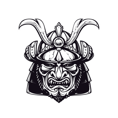 Samurai mask clip-art. Black and white version isolated on white. Japanese traditional martial mask. Vector EPS 10 illustration.  Illustration