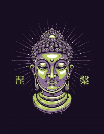 buddha head: Grunge style buddha illustration