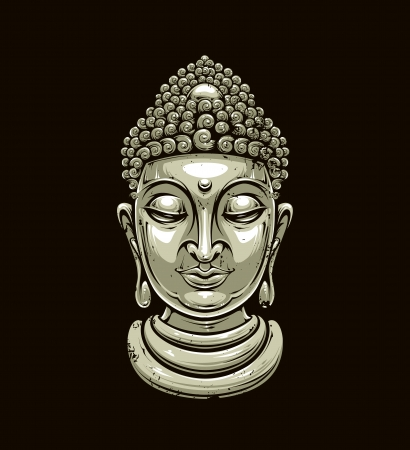 nirvana: buddha head isolated on dark
