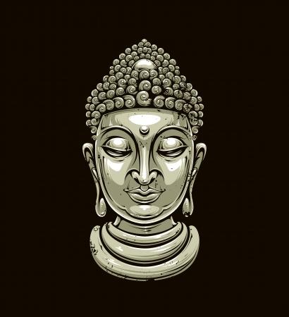 asian culture: testa di Buddha isolato su fondo scuro