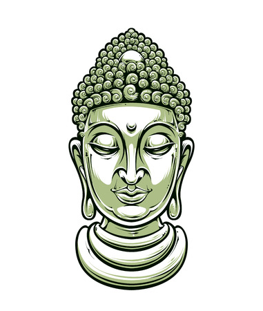 nirvana: buddha head isolated on white Illustration