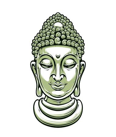 thai buddha: cabeza de Buda aislado en blanco Vectores