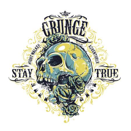 retro grunge: Grunge skull with roses and floral patterns. Vintage print. Vector illustration. Illustration