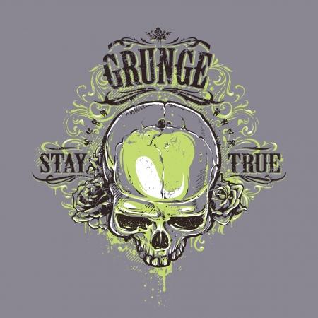 true: Grunge skull with roses and floral patterns. Stay true vintage print. Vector illustration. Illustration