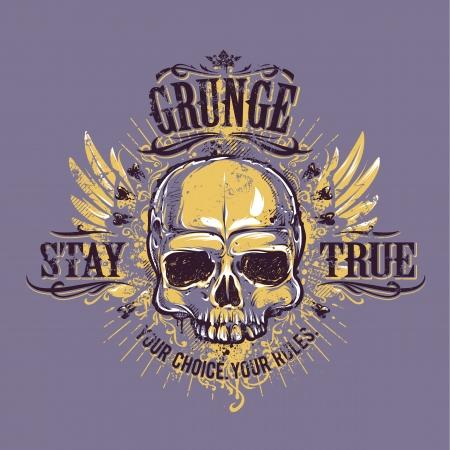 skull drawing: Grunge skull with wings. Stay true vintage print. Vector illustration.