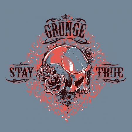 Grunge skull with roses. Stay true vintage print. Vector illustration. Illustration