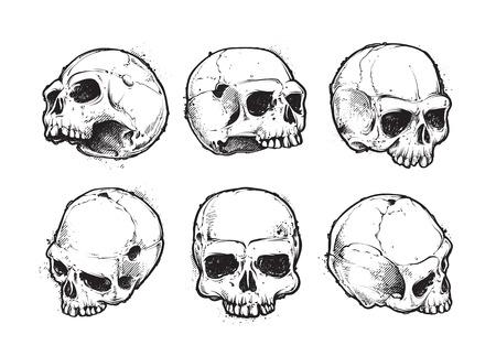 Hand-drawn skulls vector set. Grunge skulls. Vector illustration.