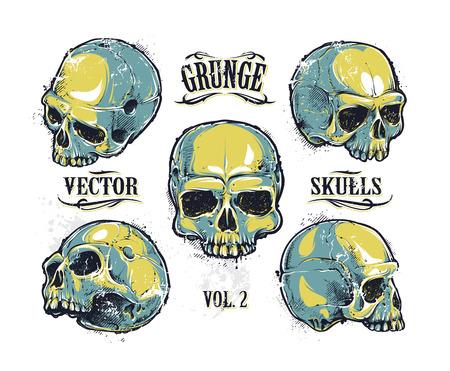 Grunge skulls vector set. Hand-drawn skulls. Vector illustration. Vectores
