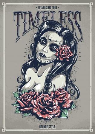 장미와 죽은 섹시한 소녀의 날. 그런 포스터. 빈티지 프린트. 그림. 일러스트