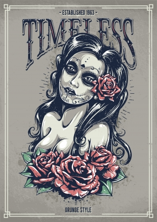 Day of dead sexy girl with roses. Grunge poster. Vintage print. illustration. Vector