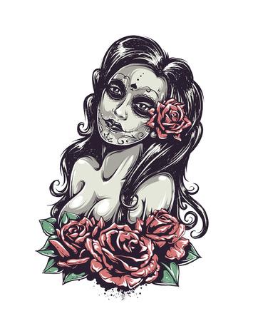 dia de muertos: Día de la muchacha atractiva muerta con rosas aisladas en blanco. Ilustración del vector. Vectores