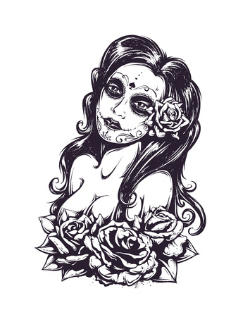 skull tattoo: Day of dead sexy girl with roses isolated on white. Black and white illustration.