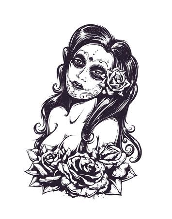 tatouage sexy: Jour de mort fille sexy avec des roses isolées sur blanc. Illustration noire et blanche.