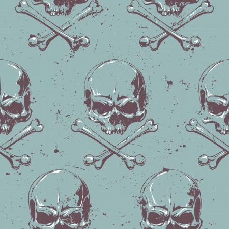 Seamless pattern with grunge skulls. illustration. Vector