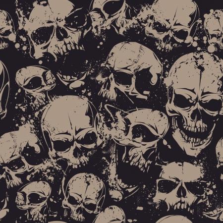 Grunge nahtlose Muster mit Schädeln. Abbildung.