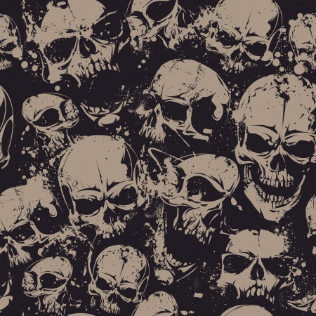 Grunge seamless pattern with skulls. illustration. Çizim