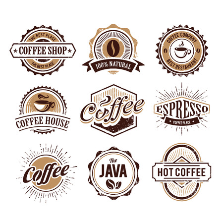 Retro styled coffee emblems Vectores