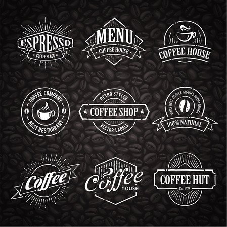 handcrafted: Hand-drawn retro stamps on coffee seamless background.