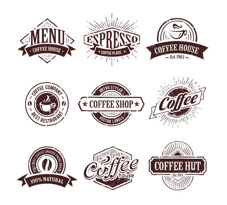 Retro styled coffee stamps   Vector